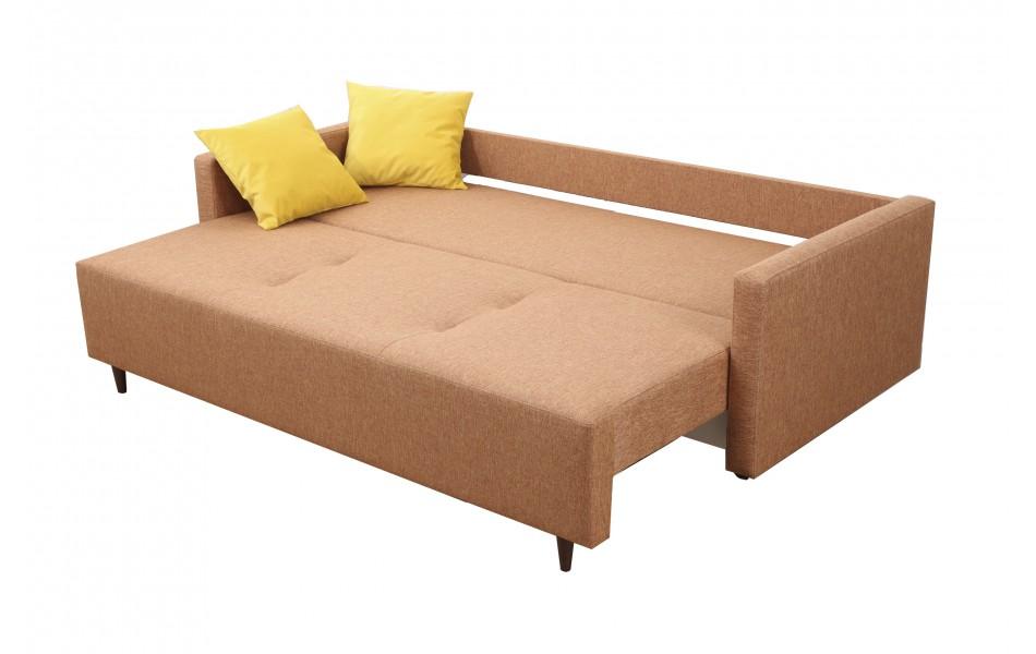 """Диван - кровать """"Каро"""" с креслом """"Каро"""" (микровелюр цветы карамель/рогожка флис терракотовый)/осн."""
