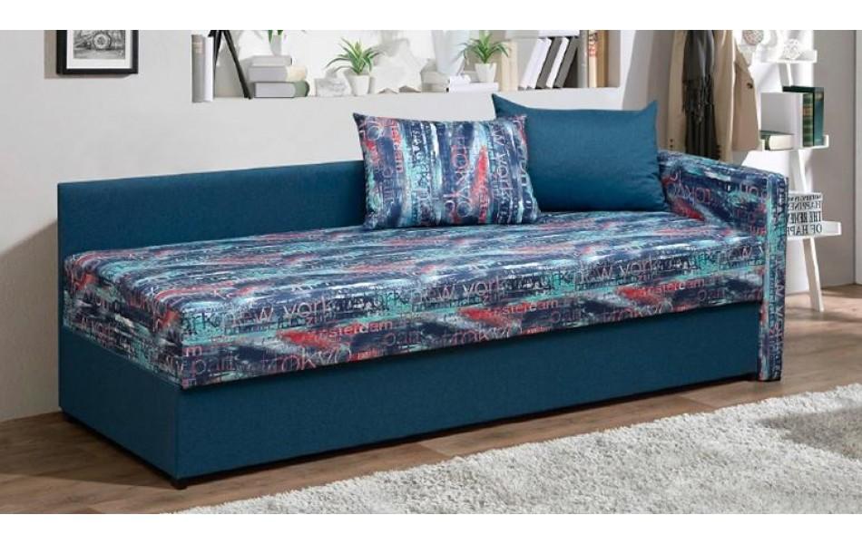 """Диван - кровать """"Мальта"""" (микровелюр мегаполис деним / велюр текстура синий)/осн."""