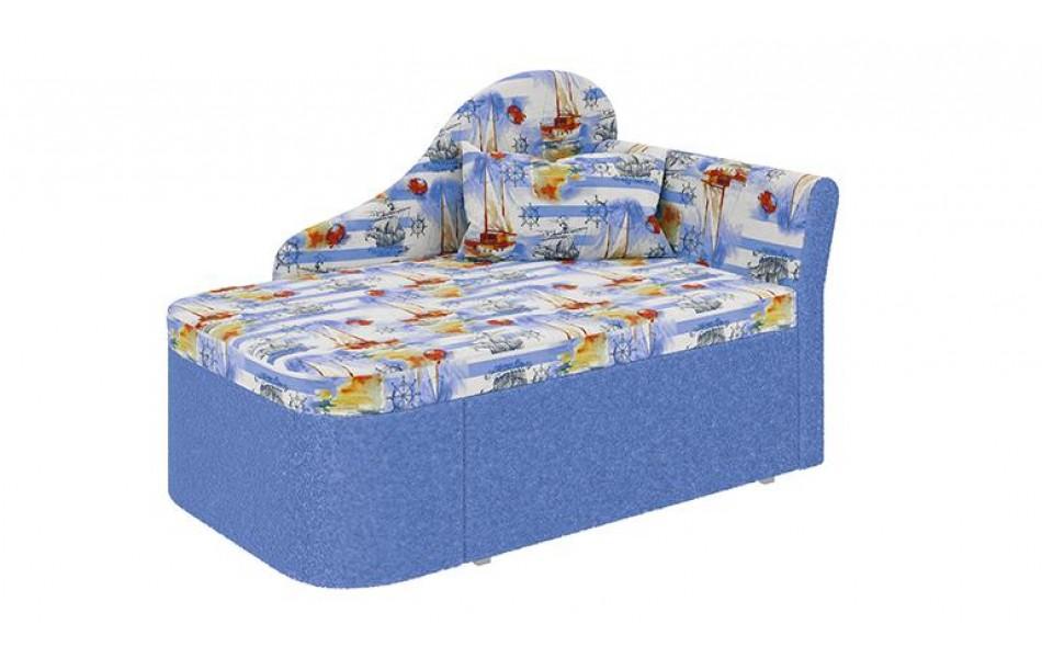 """Тахта """"Мася - 12"""" (микровелюр Путешествие / астра голубая ) левый (в комплекте с подушкой) Н/осн."""