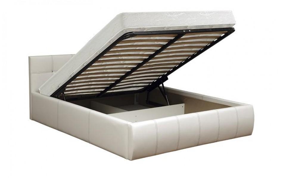 """Кровать двойная """"Треви - 2"""" (1600) (кож. зам. черный КИТ) с подъемным механизмом Н/осн."""