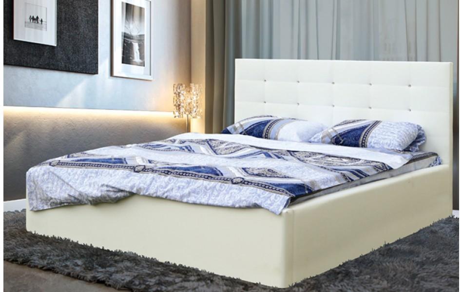 """Кровать двойная """"Виктория"""" (1600) (кож. зам. белоснежный TEX MILK) с откидным механизмом Н/осн."""