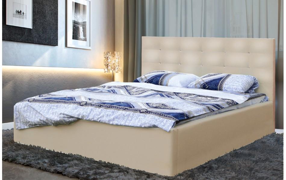 """Кровать двойная """"Виктория"""" (1400) (кож. зам. бежевый TEX CREAM) с откидным механизмом Н/осн."""