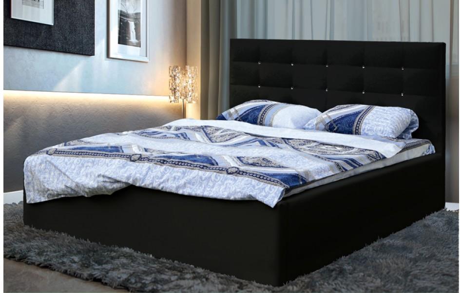 """Кровать двойная """"Виктория"""" (1400) (кож. зам. черный КИТ.) с откидным механизмом Н/осн."""
