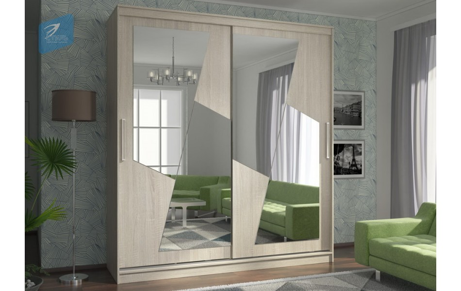 Шкаф-купе Комфорт 12 (комплект зеркал №5 Молния)